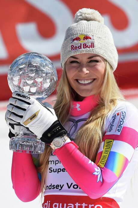 MERIBEL, FRANCE - MARCH 19: (FRANCE OUT) Lindsey Vonn of the USA takes 1st place and wins the overall SuperG World Cup globe during the Audi FIS Alpine Ski World Cup Finals Women's Super G on March 19, 2015 in Meribel, France. (Photo by Alain Grosclaude/Agence Zoom/Getty Images) Photo: Alain Grosclaude/Agence Zoom, Stringer / 2015 Getty Images