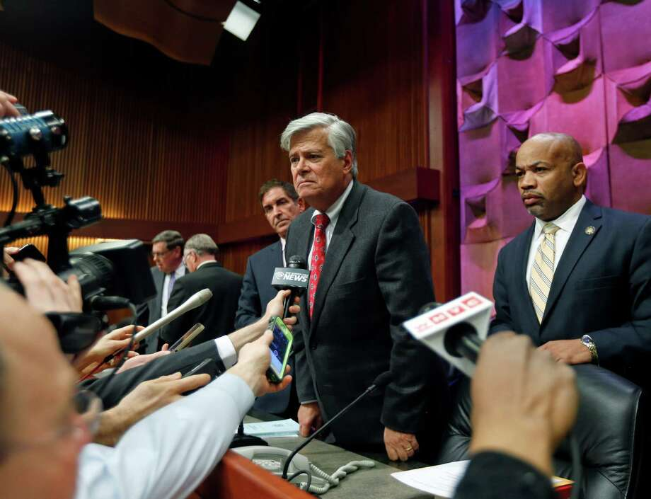 Independent Democratic Conference Leader Sen. Jeff Klein, D-Bronx, left, Senate Republican leader Dean Skelos, R-Rockville Centre, center, and Assembly Speaker Carl Heastie, D-Bronx, talk to reporters after a budget meeting on Thursday, March 19, 2015, in Albany, N.Y. (AP Photo/Mike Groll) Photo: Mike Groll / AP