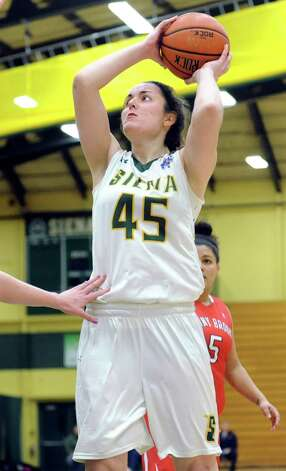 Siena's Meghan Donohue shoots for the hoop during the Women's Basketball Invitational against Stony Brook on Thursday, March 19, 2015, at Siena College in Loudonville, N.Y. (Cindy Schultz / Times Union) Photo: Cindy Schultz / 10031106A