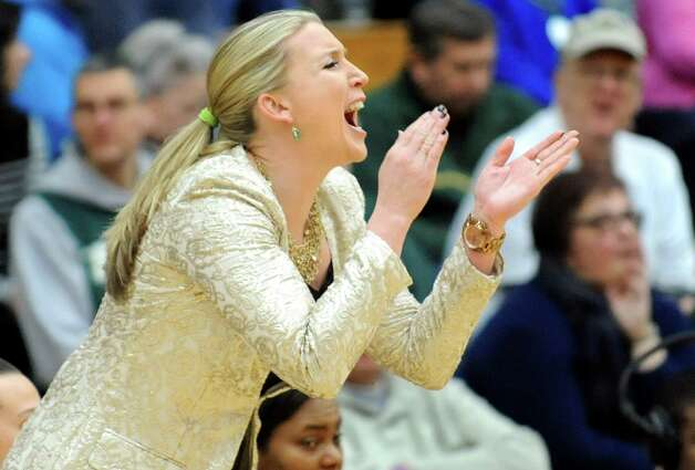 Siena's coach Ali Jaques cheers on her team during the Women's Basketball Invitational against Stony Brook on Thursday, March 19, 2015, at Siena College in Loudonville, N.Y. (Cindy Schultz / Times Union) Photo: Cindy Schultz / 10031106A