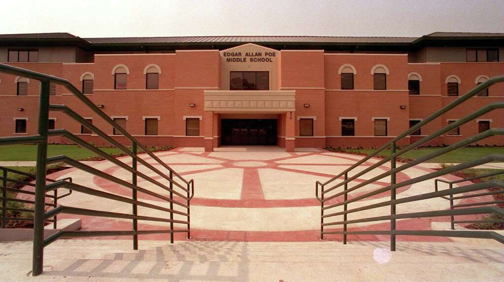 Poe Middle School on Aransas Drive, photographed when it was new in May  1998.