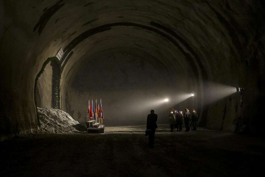 A general view inside the Brenner Base tunnel during the inauguration of the tunnel construction of the Brenner Base railway tunnel on March 19, 2015 near Innsbruck, Austria. The tunnel will run beneath the Brenner Pass and form part of a new rail connection between Munich and Florence. With a planned length of 64 kilometers it will be the longest railway tunnel in the world. Photo: Jan Hetfleisch