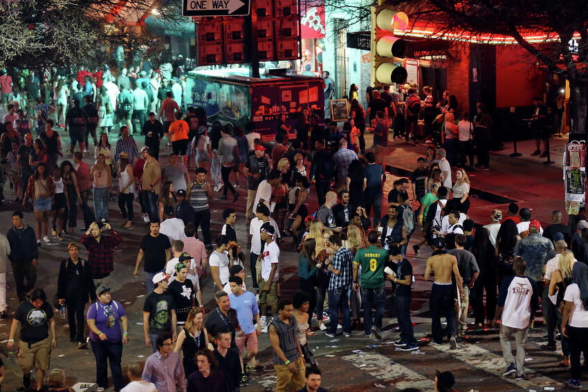 Crowds meander on 6th Street during South by Southwest Thursday March 19, 2015 in Austin, TX.