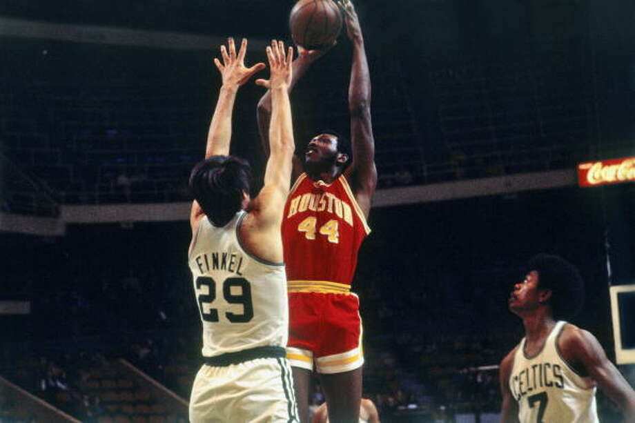 BIG E BIDS FAREWELLElvin Hayes was a Houston icon after his time at UH and moved with the Rockets from San Diego, But after the 1971-72 season, he was traded to Baltimore for the measly return of Jack Marin after feuding with coach Tex Winter.Hayes enjoyed a strong run with the Bullets before returning to the Rockets for the final three seasons of his career. Photo: Dick Raphael, NBAE/Getty Images