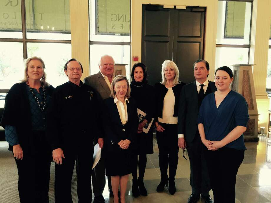Greenwood King's River Oaks Farmers posed with ROPO general manager Gary Mangold at the March 10 sales meeting. Left to right are Hester Hawkins; Gary Mangold; Anne White; George Sutherland, co-owner and founder of Greenwood King Properties; Linda King; Theresa Burne-Dodge; Cameron Ansari; and Melinda Lee, ROPO deed restrictions manager.
