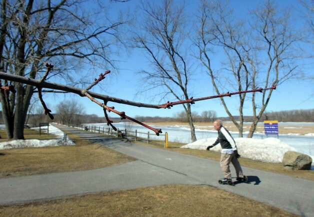 A man inline skates on the path near a close to budding tree at Lions Park on Thursday March 19, 2015 in Niskayuna, N.Y.  (Michael P. Farrell/Times Union) Photo: Michael P. Farrell / 00030967A