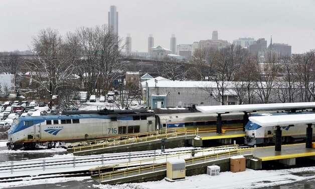 Amtrak trains in the Rensselaer-Albany station Tuesday, March 19, 2013, in Rensselaer, N.Y.  (John Carl D'Annibale / Times Union) Photo: John Carl D'Annibale / 00021622A
