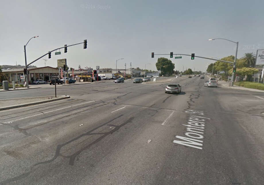 A man was struck by a motorcycle and killed while crossing  Monterey Road near Lewis Road in San Jose Thursday night. Photo: Google Maps