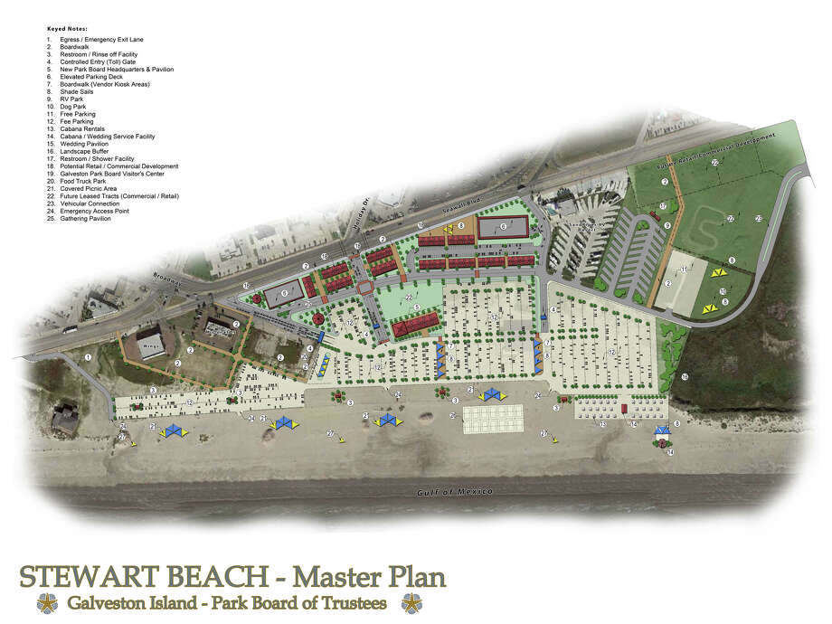 Galveston's two largest beaches are set to receive a total of $41 million in improvements, including boardwalks, bathrooms and a pavilion. The Galveston Park Board on Wednesday approved a plan it has been working on for a year to improve Stewart Beach and East Beach parks. Photo: City Of Galveston