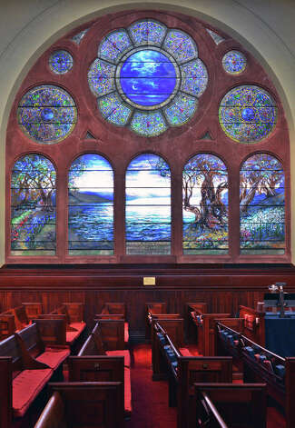 """Tiffany's """"The Sea of Galilee"""" window inside the First Presbyterian Church on State Street in Albany Tuesday Jan. 8, 2012.   The church is preparing to celebrate its 250th anniversary.  (John Carl D'Annibale / Times Union) Photo: John Carl D'Annibale, Albany Times Union / 00020699A"""