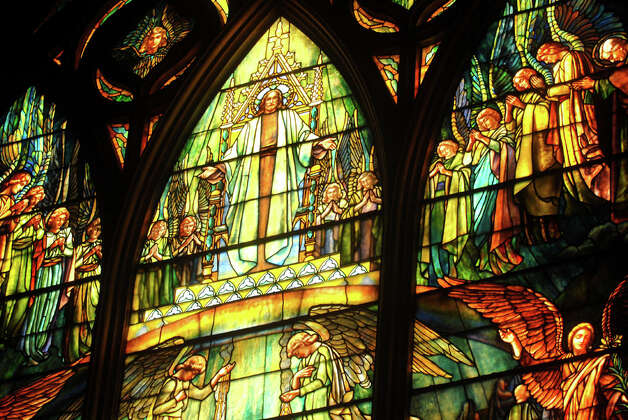 "imes Union Staff Photo--Michael P. Farrell--The Tiffany stained glass window titled ""Vision of St. Paul"" depicting Jesus surrounded by angels at St. Paul's Church  in Troy, New York Friday April 14, 2006 Photo: MICHAEL P. FARRELL, ALBANY TIMES UNION / ALBANY TIMES UNION"