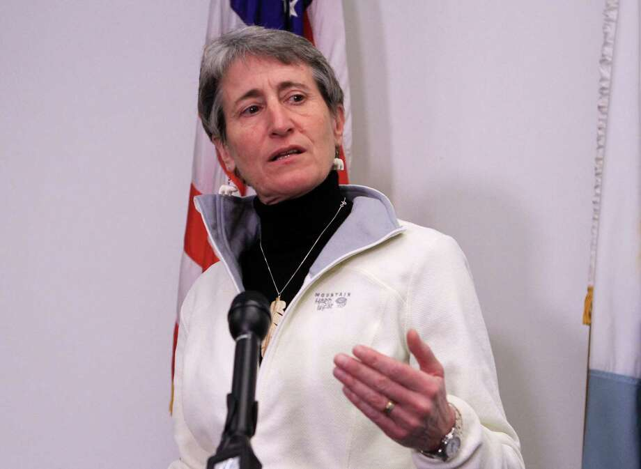FILE - In this Feb. 17, 2015 file photo, Interior Secretary Sally Jewell speaks in Anchorage, Alaska. The Obama administration is requiring companies that drill for oil and natural gas on federal lands to disclose chemicals used in hydraulic fracturing operations. A final rule released Friday also updates requirements for well construction and disposal of water and other fluids used in fracking, a drilling method that has prompted an ongoing boom in natural gas production. (AP Photo/Dan Joling, File) Photo: Dan Joling / Associated Press / AP