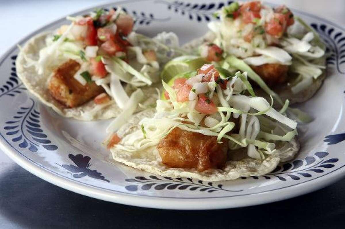 Tacos de Pescado Baja Califas at La Gloria.