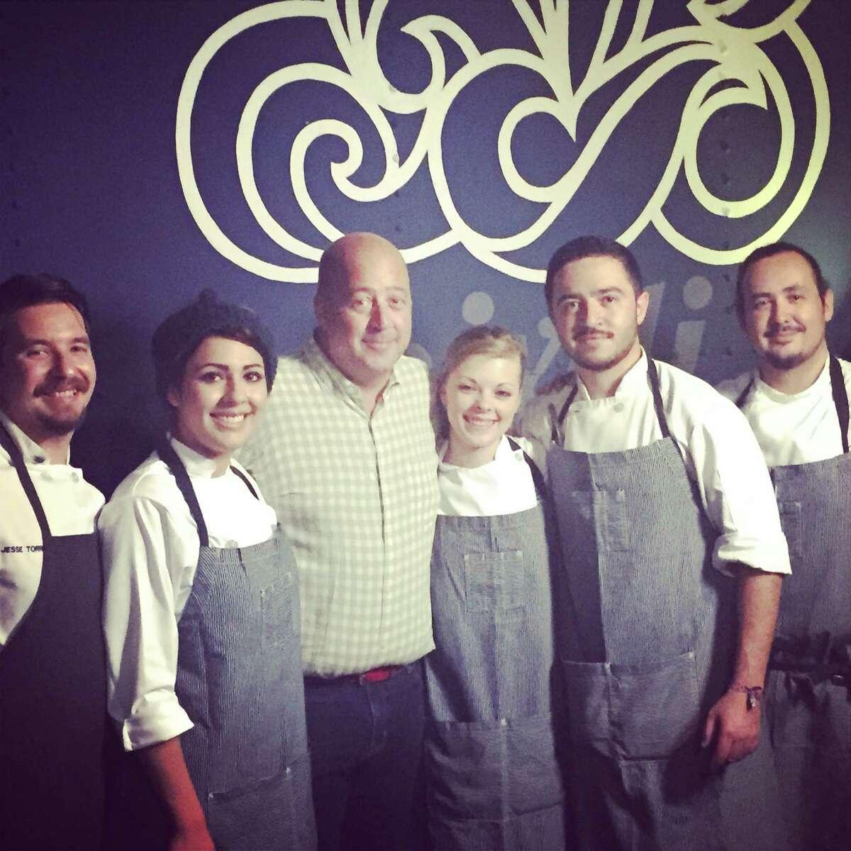 From left: Jesse Torres, Dennise Montano, Andrew Zimmern, Cassie Ramsey, Diego Galicia, Rico Torres