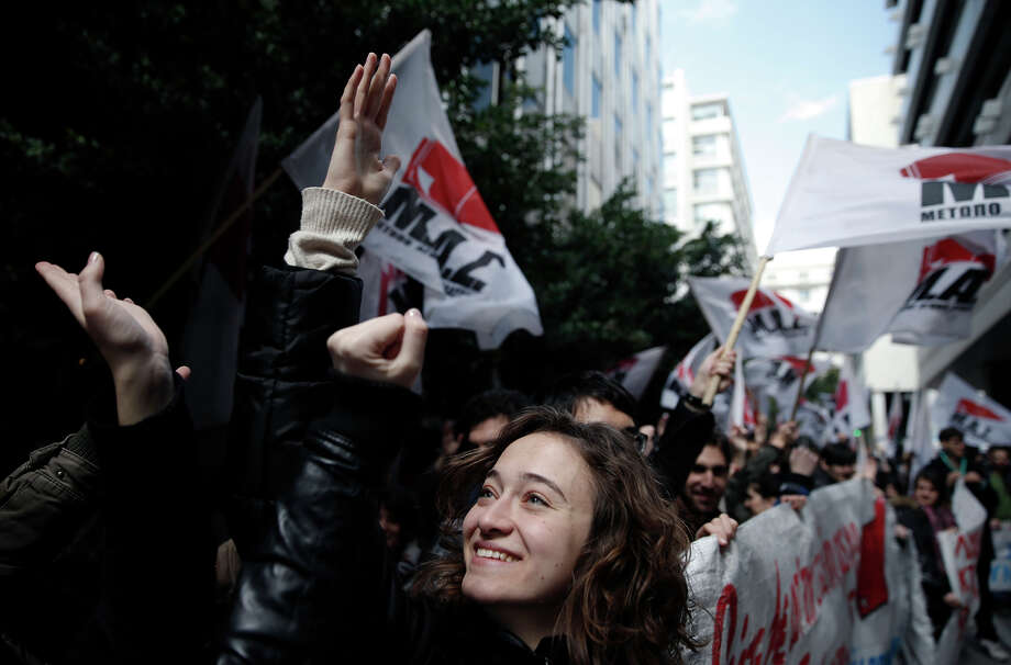 College students march at an anti-austerity rally in Athens. The demonstrators, who marched throughout the city, are angry at university financial policies. Photo: Petros Giannakouris / Associated Press / AP