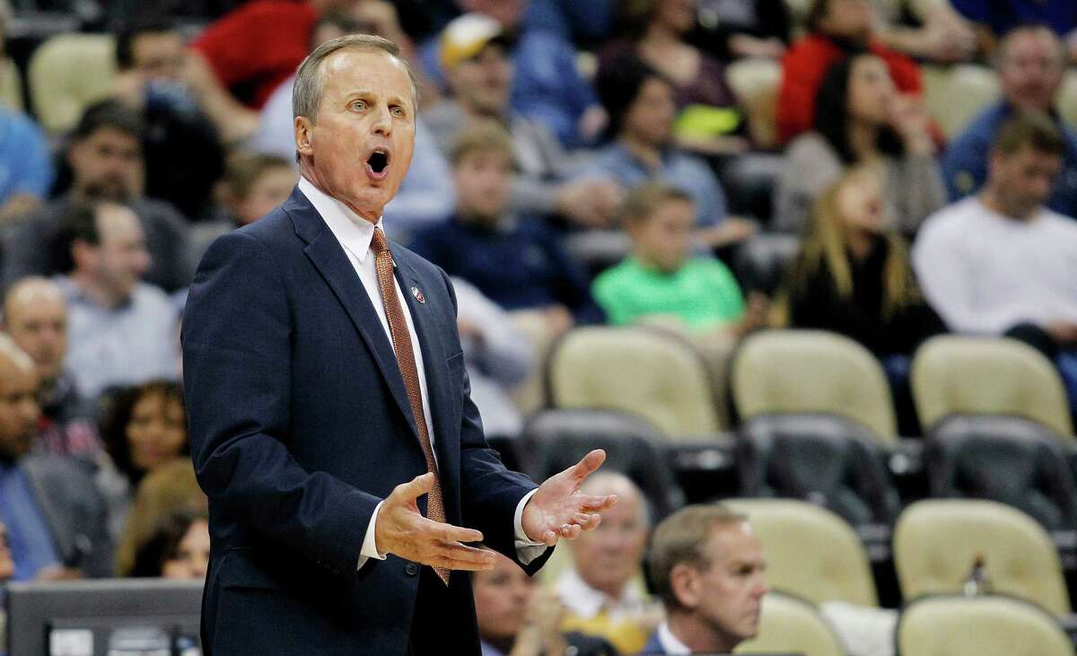 Texas coach Rick Barnes barks at a referee during the second half against Butler in the second round of the NCAA tournament at Consol Energy Center on March 19, 2015 in Pittsburgh.