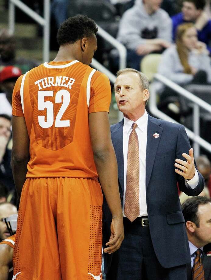 Head coach Rick Barnes of the Texas Longhorns talks to Myles Turner during the the first half against the Butler Bulldogs. Photo: Justin K. Aller /Getty Images / 2015 Getty Images