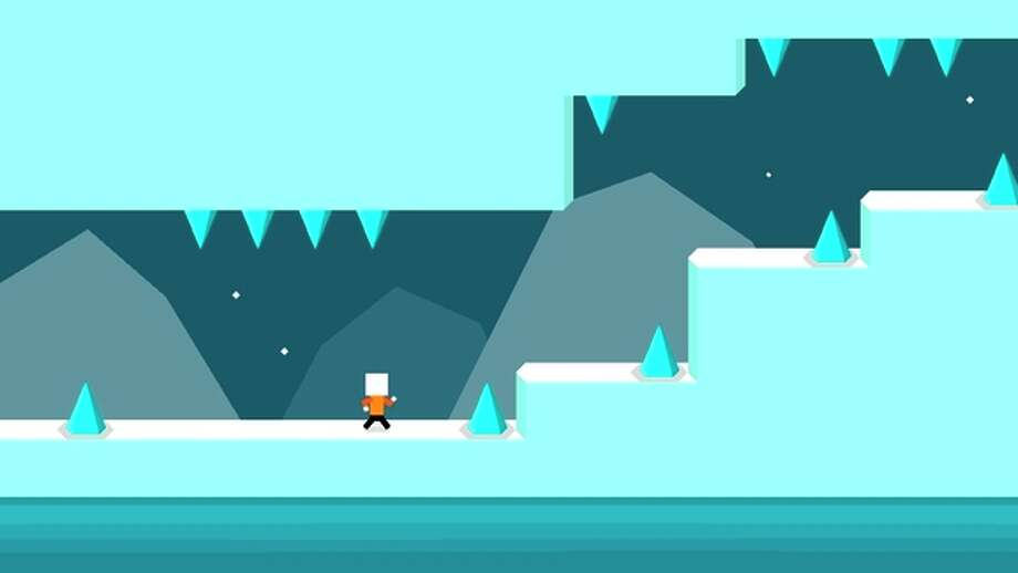 In the app Mr Jump, a player guides a character to safety through a series of obstacles and challenging terrain. Photo: 1Button / 1Button / ONLINE_YES