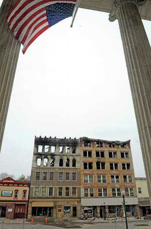 The two Jay Street buildings destroyed by fire as seen from Schenectady City Hall on Friday March 20, 2015 in Schenectady, N.Y. (Michael P. Farrell/Times Union) Photo: Michael P. Farrell / 00031124A