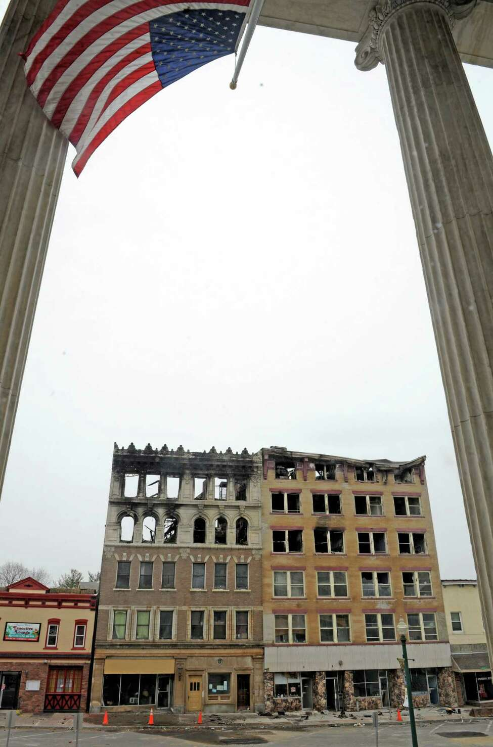 The two Jay Street buildings destroyed by fire as seen from Schenectady City Hall on Friday March 20, 2015 in Schenectady, N.Y. (Michael P. Farrell/Times Union)