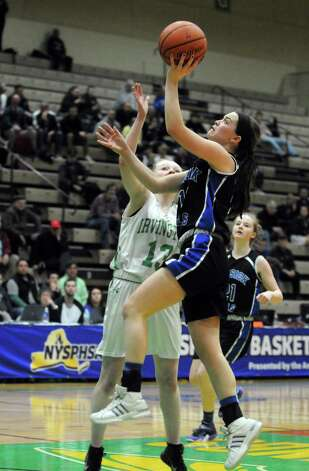 Hoosick Falls Rachel Pine drives to the basket during their 55-36 win over  Irvington in the Class B State Girls' Basketball Semifinals at HVCC on Friday March 20, 2015 in Troy, N.Y. (Michael P. Farrell/Times Union) Photo: Michael P. Farrell / 10031104A