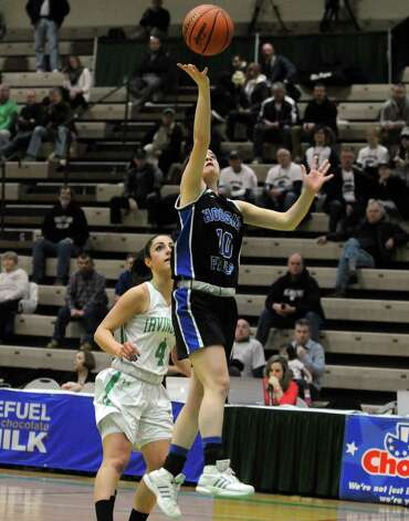Hoosick Falls Rachel Pine goes in for a score during their 55-36 win over  Irvington in the Class B State Girls' Basketball Semifinals at HVCC on Friday March 20, 2015 in Troy, N.Y. (Michael P. Farrell/Times Union) Photo: Michael P. Farrell / 10031104A