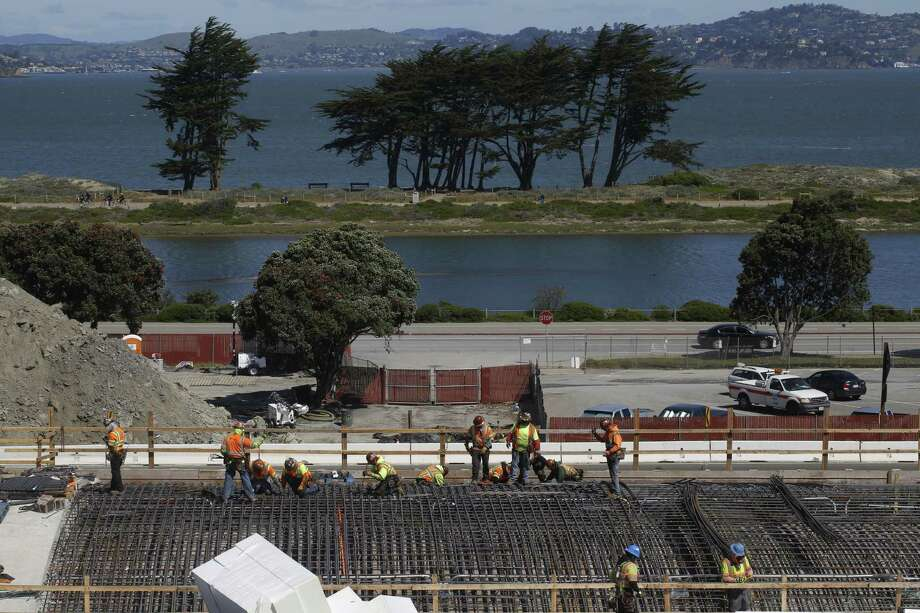 Construction on the tunnels above Doyle Drive is seen in April 2014. Photo: Mike Kepka / The Chronicle / ONLINE_YES