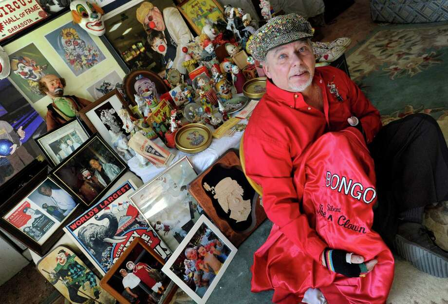 John Mackiewicz, known as Bongo the Silent Clown, has an extensive collection of clown and circus-themed items. Photo Thursday, march 19, 2015. Photo: Carol Kaliff / The News-Times
