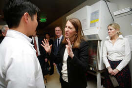 Health and Human Services Secretary Sylvia Burwell tours the UCSF Center for Advanced Technology last week.