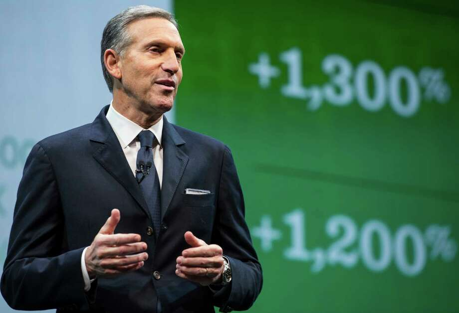 SEATTLE, WA - MARCH 18:  Starbucks Chairman and CEO Howard Schultz speaks during an annual shareholders meeting March 18, 2015 in Seattle, Washington. During the meeting, Schultz announced a 2-for-1 stock split, the sixth in the company's history. (Photo by Stephen Brashear/Getty Images) Photo: Stephen Brashear, Stringer / 2015 Getty Images