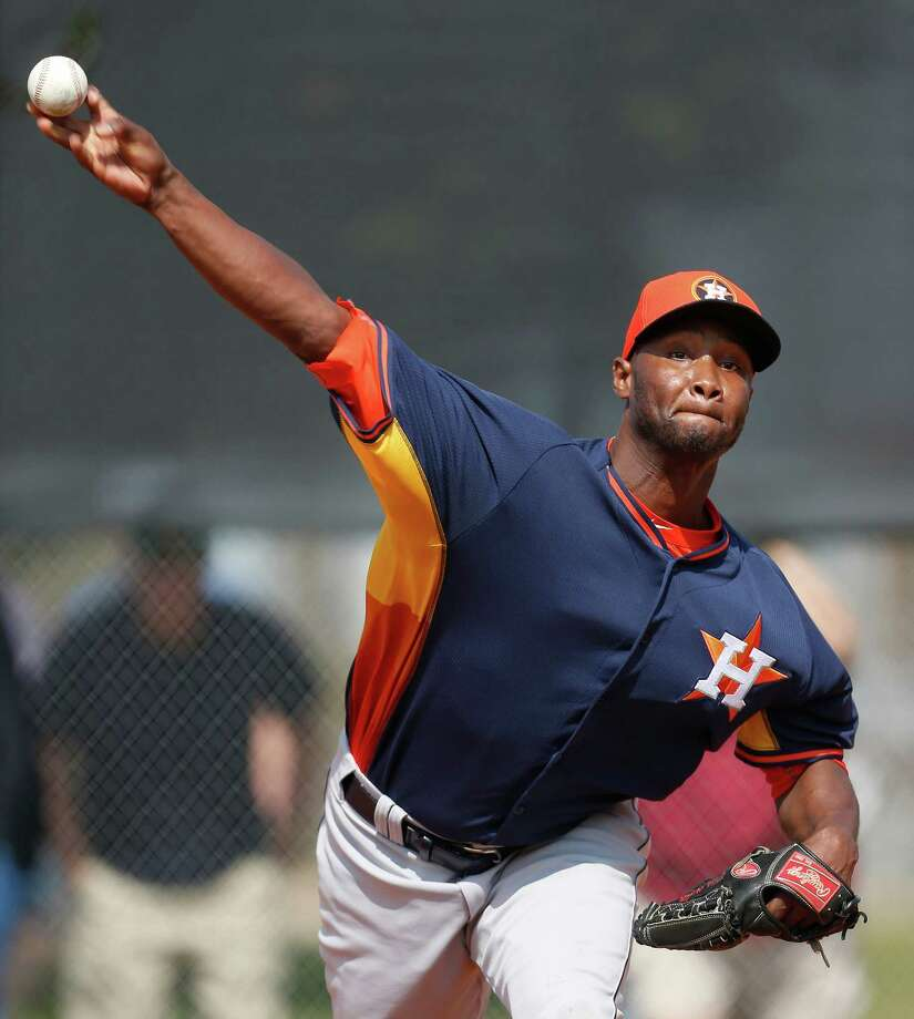 Astros pitchers Samuel Deduno (above) and Asher Wojciechowski (below) will next throw Wednesday as they try to win spots on the major league roster. Photo: Karen Warren, Staff / © 2015 Houston Chronicle
