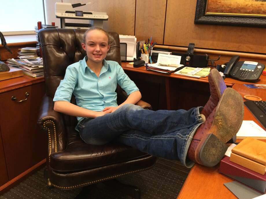 Dalaney Vickrey joking around in the executive sites at the rodeo. She's 14 and a make a wish kid. Photo: Courtesy Of Rodeo Houston / Courtesy of Rodeo Houston