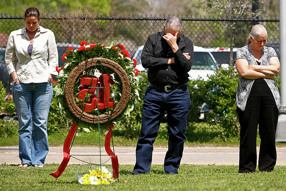 Dorothy Rodriguez, from left,  and Rafael Herrera and his wife Magdalena reflect on the life of their sons, Ryan Rodriguez and Rafael Herrera Jr., who were killed in the 2005 BP refinery explosion in Texas City. Photo: Michael Paulsen, Staff / Houston Chronicle