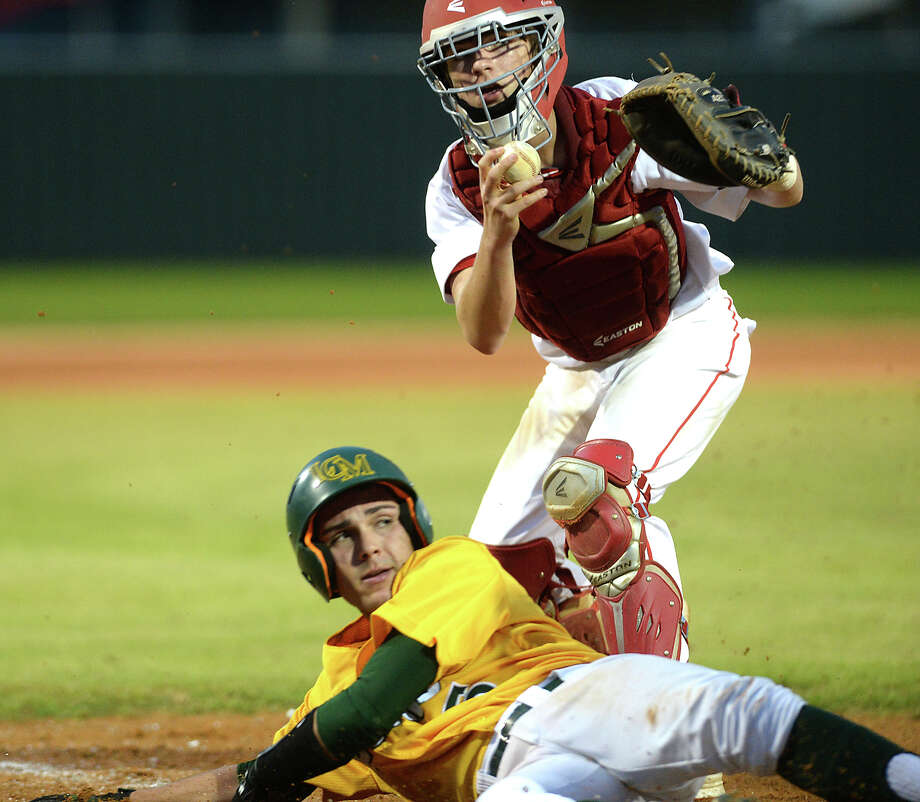 Bridge City's Schuyler Thibodeaux and Little Cypress - Mauriceville's Peyton Choate eye the umpire for the call at home plate during Friday's district game at Bridge City.