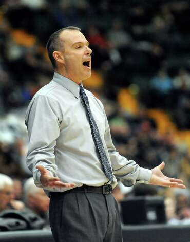 Lake George's coach David Jones disputes a call during their Class C State boys basketball semifinal against Haldane on Friday, March 20, 2015, at Glens Falls Civic Center in Glens Falls, N.Y. (Cindy Schultz / Times Union) Photo: Cindy Schultz / 10031107A