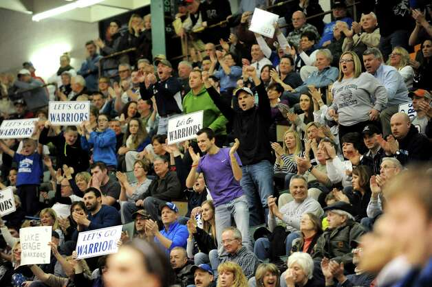 Lake George fans cheer for their team during the Class C State boys basketball semifinal against Haldane on Friday, March 20, 2015, at Glens Falls Civic Center in Glens Falls, N.Y. (Cindy Schultz / Times Union) Photo: Cindy Schultz / 10031107A