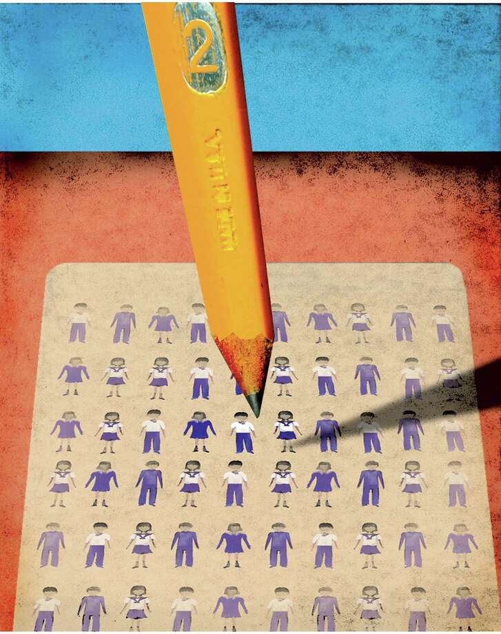 300 dpi 4 col x 9.75 in / 196x248 mm / 667x842 pixels Michael Hogue color illustration of a pencil over a test with standardized uniforms as answer keys. The Dallas Morning News 2005