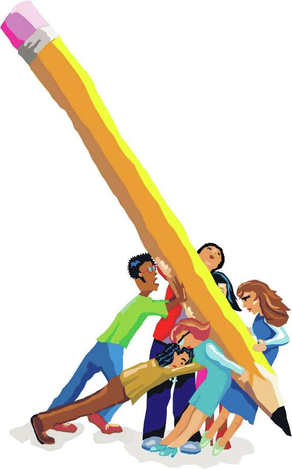 300 dpi Margaret Spengler  color illustration of diverse group of young students struggling to push a giant pencil. For stories about testing, homework, education, etc. The Sacramento Bee 2007admissions illustration test standardized testing exams finals essay pencil students homework competition, krtdiversity diversity, youth, entrance examination exam, krtbackschool school, krteducation education 05000000, EDU, krtnational national, krtworld world, krt, mctillustration, 05009000, 2007, krt2007, spengler sa contributed coddington mct mct2007 Photo: Spengler / (c) MCT 2007