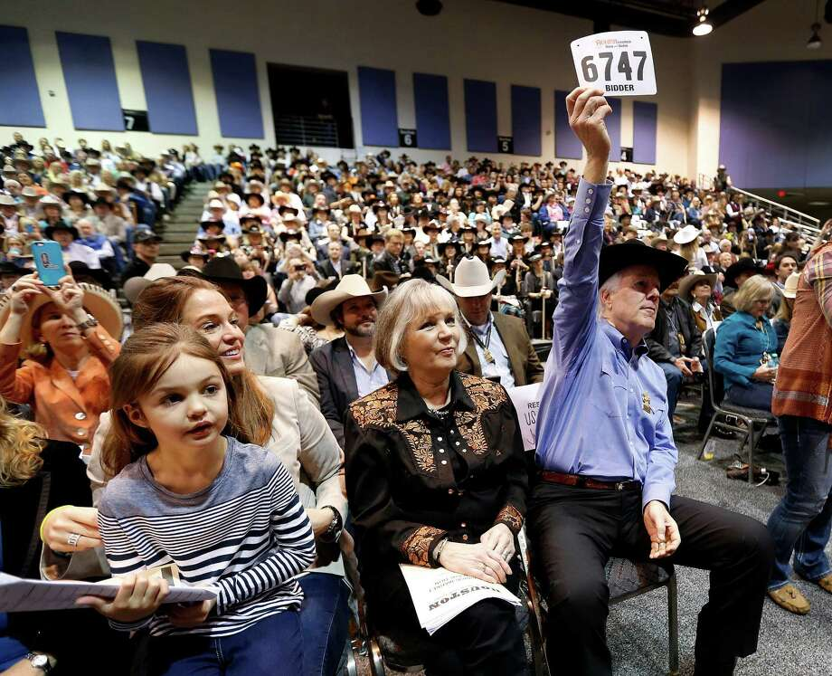 United States Senator John Cornyn begins the Junior Market Steer auction with his bid of $50,000 at the Houston Livestock Show and Rodeo at NRG Arena, Saturday, March 21, 2015, in Houston. Photo: Karen Warren, Houston Chronicle / © 2015 Houston Chronicle