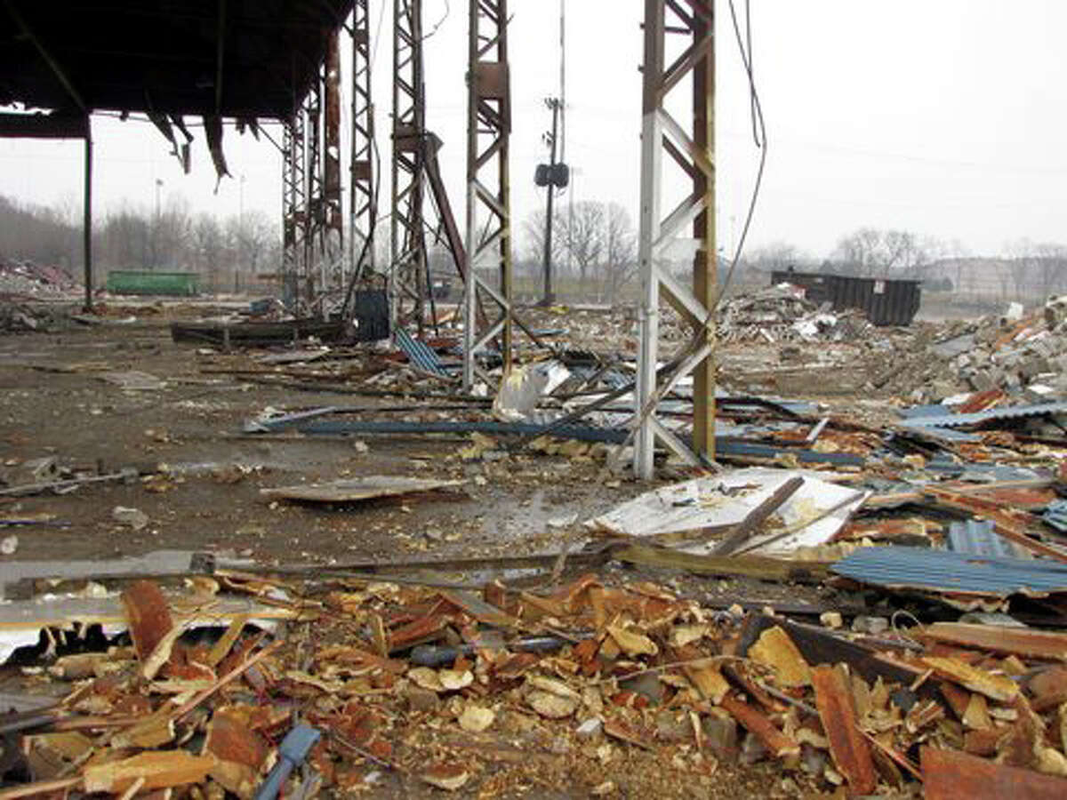 The buildings that housed Stamford's only working boatyard and the largest in the Northeast, last operated by Brewer Yacht Haven, as they were being demolished Dec. 21. The developer that owns the land, Building and Land Technology of Norwalk, obtained a permit for the demolition but city officials say BLT is attempting to circumvent a 2007 zoning stipulation that a working boatyard must remain.