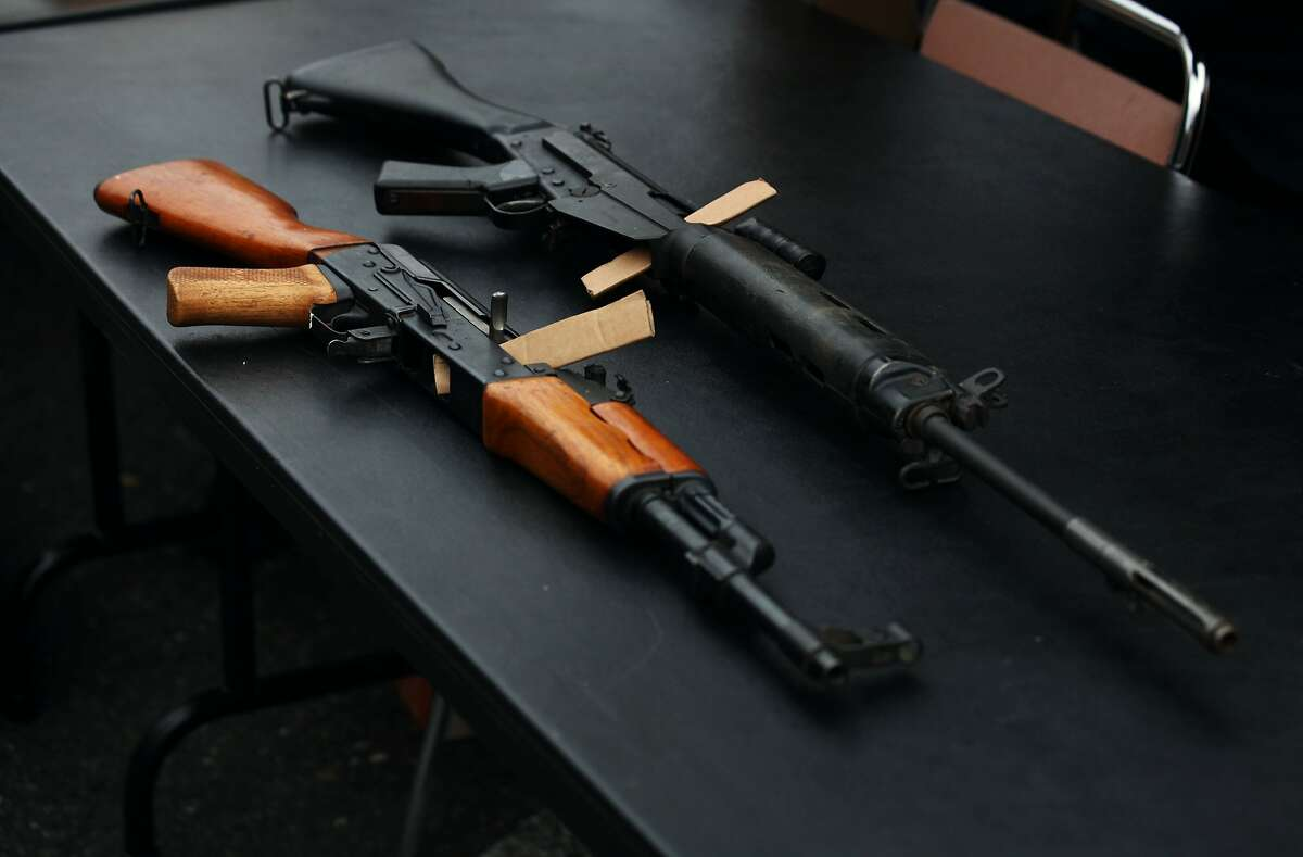 Guns brought in at the gun buyback event at Ella Hill Hutch Community Center in San Francisco, Calif., Saturday March 21, 2015.