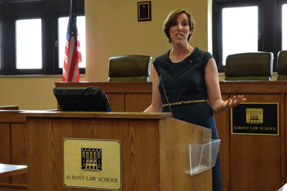 Cathryn Oakley, legislative counsel for State and Municipal Advocacy at the Human Rights Campaign, spoke about lesbian, gay, bisexual and transgender equality at the LGBT Law Day on March 21, 2015 at the Albany Law School. (Brittany Horn / Times Union)