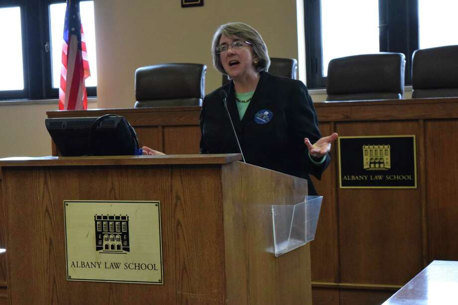 Elizabeth Garry, a New York Supreme Court justice with the Appellate Division, spoke about her experience as the first openly lesbian justice in New York at the LGBT Law Day on March 21, 2015 at the Albany Law School. (Brittany Horn / Times Union)