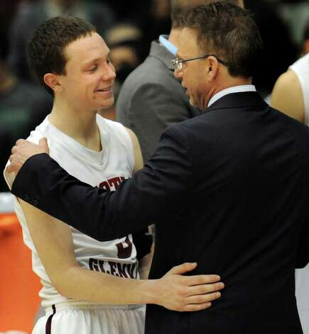 Scotia's coach Jim Giammattei, right, and Scott Stopera share their 46-42 victory over Spring Valley in the Class A State boys basketball semifinal on Saturday, March 21, 2015, at Glens Falls Civic Center in Glens Falls, N.Y. (Cindy Schultz / Times Union) Photo: Cindy Schultz / 10031108A