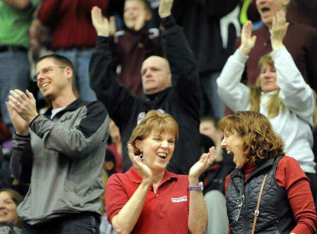 Scotia fans cheer a good play in the Class A State boys basketball semifinal against Spring Valley on Saturday, March 21, 2015, at Glens Falls Civic Center in Glens Falls, N.Y. (Cindy Schultz / Times Union) Photo: Cindy Schultz / 10031108A