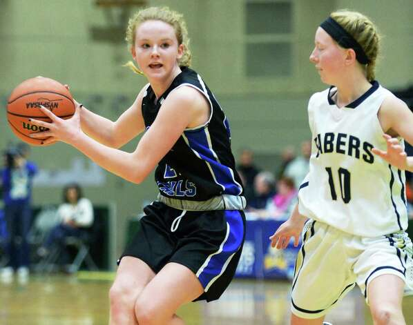 Hoosick Falls's #21 Anna Wysocki, left, and Susquehanna Valley's #Shayna Lee during the state Class B basketball final at Hudson Valley Community College Saturday March 21, 2015 in Troy, NY.  (John Carl D'Annibale / Times Union) Photo: John Carl D'Annibale / 10031110A