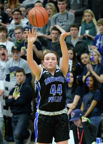 Hoosick Falls's #44 Chelsea Stevens sinks a three pointer during the state Class B basketball final against Susquehanna Valley at Hudson Valley Community College Saturday March 21, 2015 in Troy, NY.  (John Carl D'Annibale / Times Union) Photo: John Carl D'Annibale / 10031110A