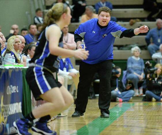 Hoosick Falls head coach Eamonn DeGraaf sends in a sub during the state Class B basketball final against Susquehanna Valley at Hudson Valley Community College Saturday March 21, 2015 in Troy, NY.  (John Carl D'Annibale / Times Union) Photo: John Carl D'Annibale / 10031110A