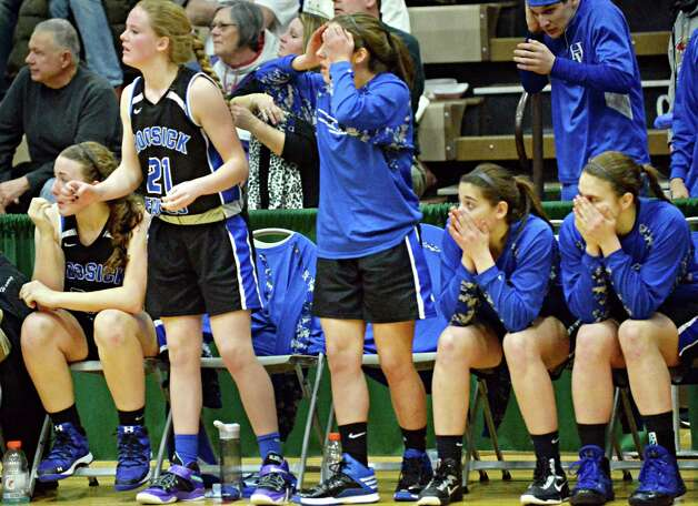 Hoosick Falls players watch during the final moments of their state Class B basketball final against Susquehanna Valley at Hudson Valley Community College Saturday March 21, 2015 in Troy, NY.  (John Carl D'Annibale / Times Union) Photo: John Carl D'Annibale / 10031110A