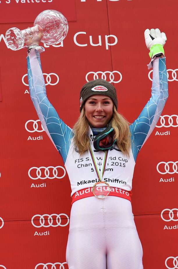 MERIBEL, FRANCE - MARCH 21: (FRANCE OUT) Mikaela Shiffrin of the USA wins the race and the overall World Cup slalom globe during the Audi FIS Alpine Ski World Cup Finals Women's Slalom on March 21, 2015 in Meribel, France. (Photo by Alain Grosclaude/Agence Zoom/Getty Images) ORG XMIT: 513437769 Photo: Alain Grosclaude/Agence Zoom / 2015 Getty Images